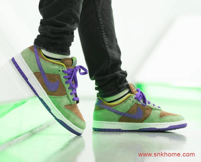 """耐克Dunk丑小鸭上脚图 Nike Dunk Low SP """"Veneer"""" Dunk棕绿黄紫翻毛皮 货号:DA1469-200-潮流者之家"""