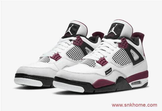 """耐克AJ4大巴黎马上发售 Air Jordan 4 """"PSG"""" AJ4PSG白酒红实战球鞋 货号:CZ5624-100-潮流者之家"""