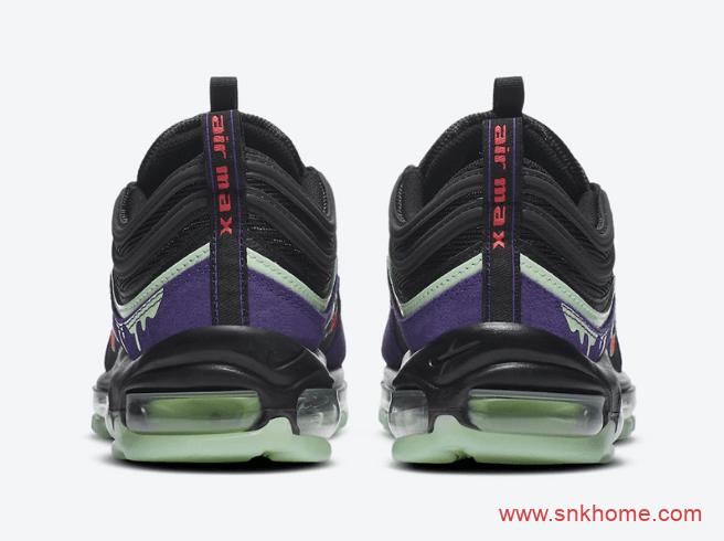 """耐克MAX97万圣节限定粘液效果 Nike Air Max 97 """"Slime"""" 耐克MAX97紫黑绿发售日期 货号:DC1500-001-潮流者之家"""