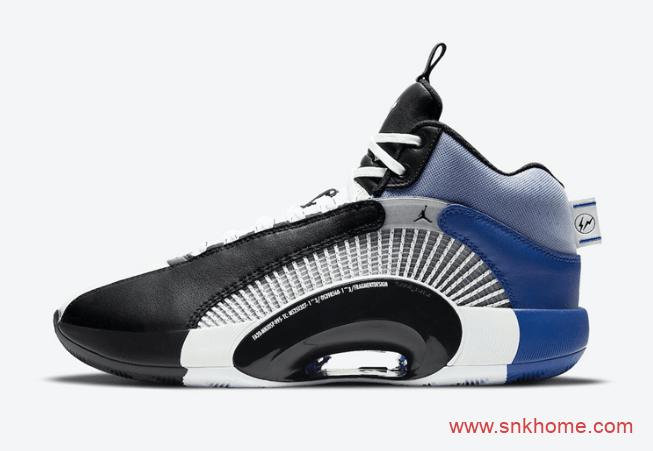 藤原浩AJ35联名官图 Fragment Design x Air Jordan 35 闪电AJ最新联名白黑蓝球鞋 货号:DA2371-10-潮流者之家