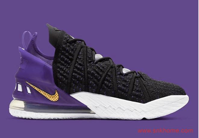 """耐克詹姆斯18代球鞋湖人配色 Nike LeBron 18 """"Home"""" 耐克詹姆斯球鞋新款官图释出 货号:CQ9283-004-潮流者之家"""