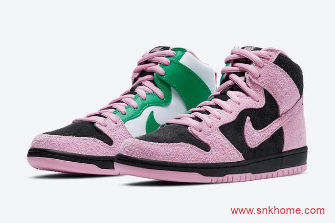 """耐克Dunk粉绿翻毛皮鸳鸯 Nike SB Dunk High """"Invert Celtics"""" 耐克Dunk麂皮反光新款 货号:CU7349-001-潮流者之家"""