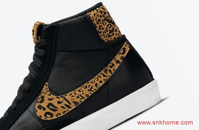 """耐克开拓者豹纹高帮 Nike Blazer Mid """"Leopard"""" 开拓者黑色皮面高帮新款 货号: DC9207-001-潮流者之家"""