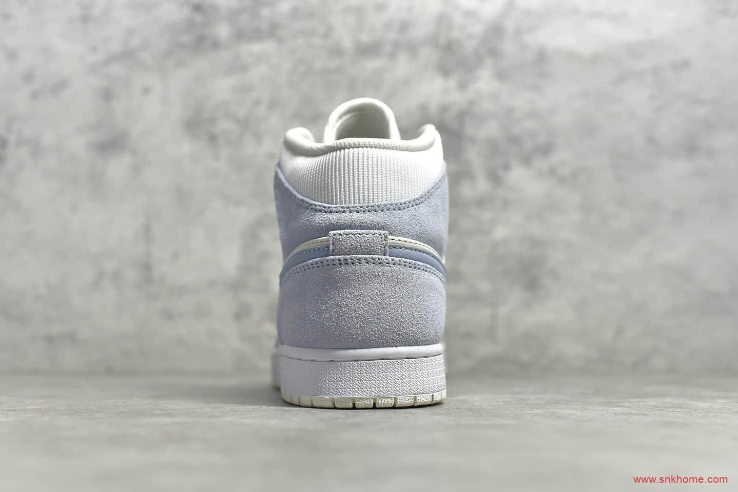 AJ1白色浅蓝中帮麂皮 Air Jordan 1 MiD 莆田AJ1复刻白蓝麂皮纯原版本 货号:DA4666-100-潮流者之家