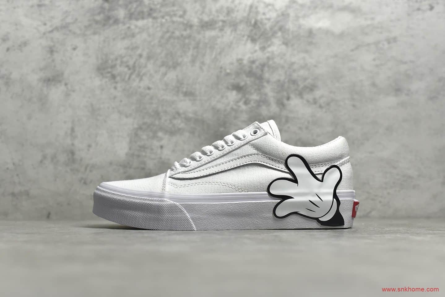 万斯迪士尼米奇联名 VANS x Disney Old Skool 万斯小白鞋纯白色低帮帆布鞋 货号:VN0A38G1UNC-潮流者之家