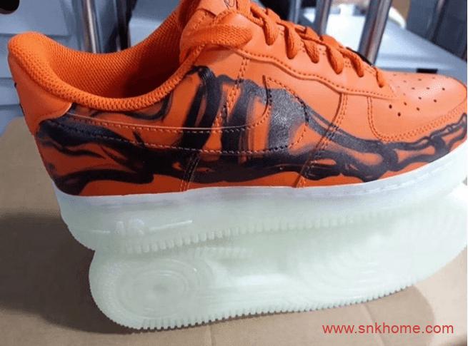 """耐克空军一号万圣节限定 Nike Air Force 1 """"Skeleton Orange"""" 空军夜光底耐克万圣节 货号:CU8067-800-潮流者之家"""