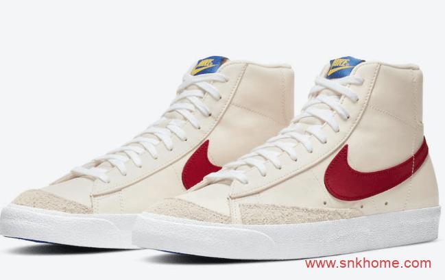 耐克开拓者红白撞色绒毛鞋面 Nike Blazer Mid 耐克开拓者新配色官图 货号:DH0929-800-潮流者之家