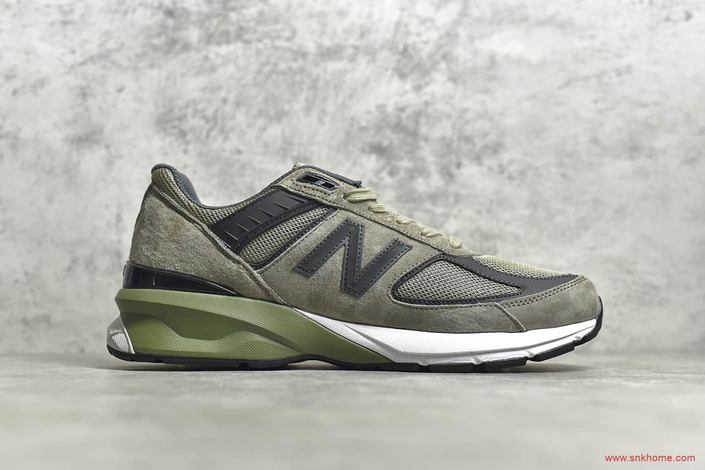 新百伦NBM990V5橄榄绿 NEW BALANCE M990V5 新百伦猪八皮革5代复古跑鞋-潮流者之家