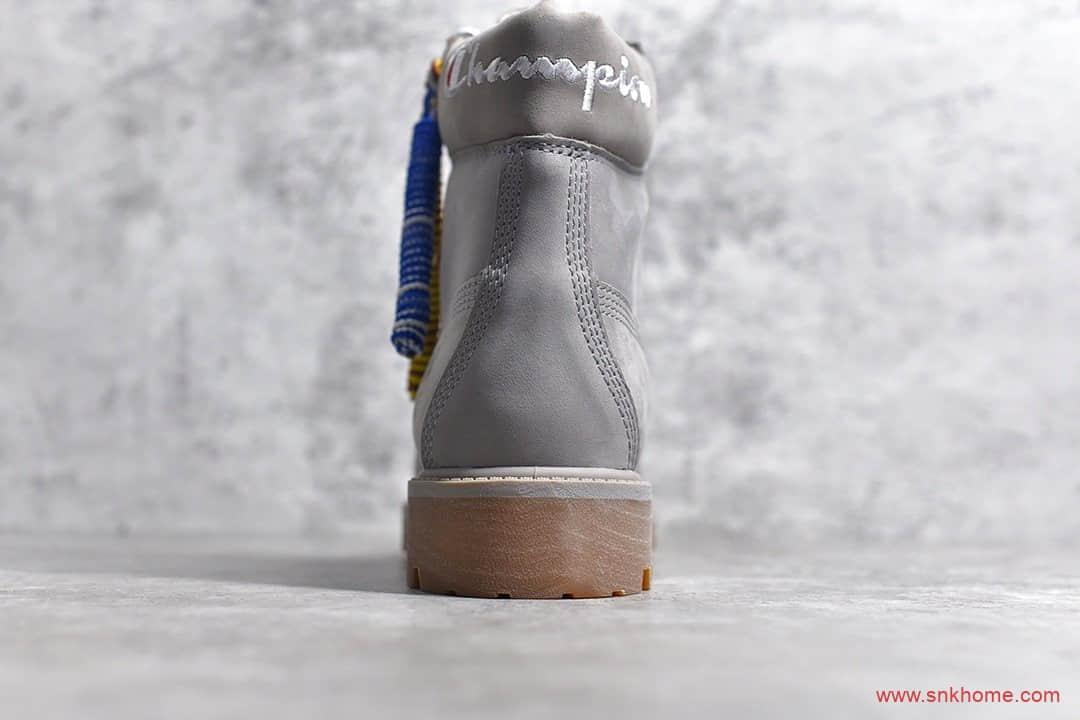天伯伦卫冕冠军联名 Timberland x Champion 天伯伦灰色马丁靴 莆田天伯伦马丁靴纯原版本-潮流者之家