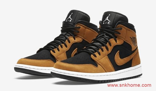 AJ1小麦中帮秋冬款 Air Jordan 1 Mid SE AJ1黑色小麦色拼接色中帮新款发售日期 货号:DB5453-700-潮流者之家