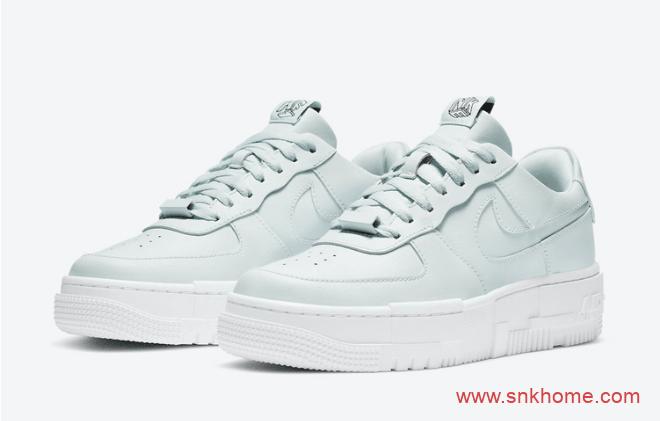 耐克空军一号湖水绿解构低帮板鞋 Nike Air Force 1 Pixel 耐克空军鸳鸯鞋舌3D立体字样 货号:CK6649-400-潮流者之家
