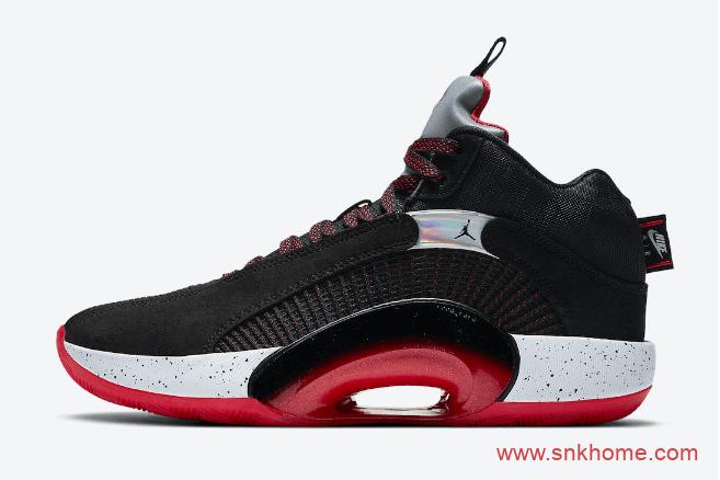 """AJ35黑红实战球鞋发售日期 Air Jordan 35 """"Bred"""" AJ35经典银色鞋舌 货号:CQ4227-030-潮流者之家"""