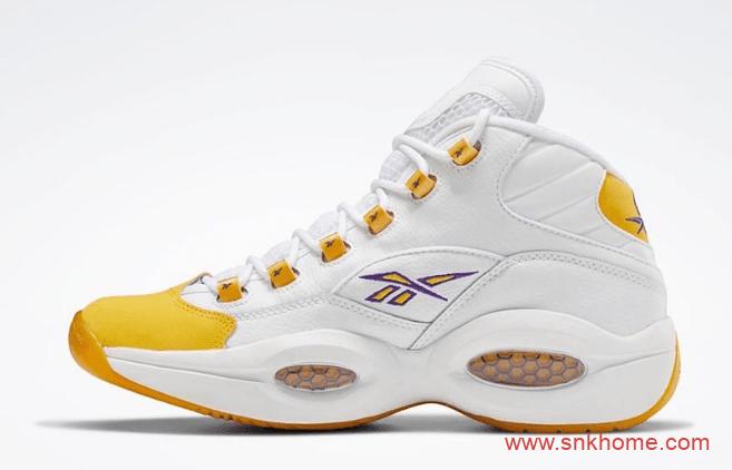 锐步艾佛森战靴 Reebok Question Mid Yellow Toe 锐步黄脚趾 锐步白黄实战球鞋 货号:FX4278-潮流者之家