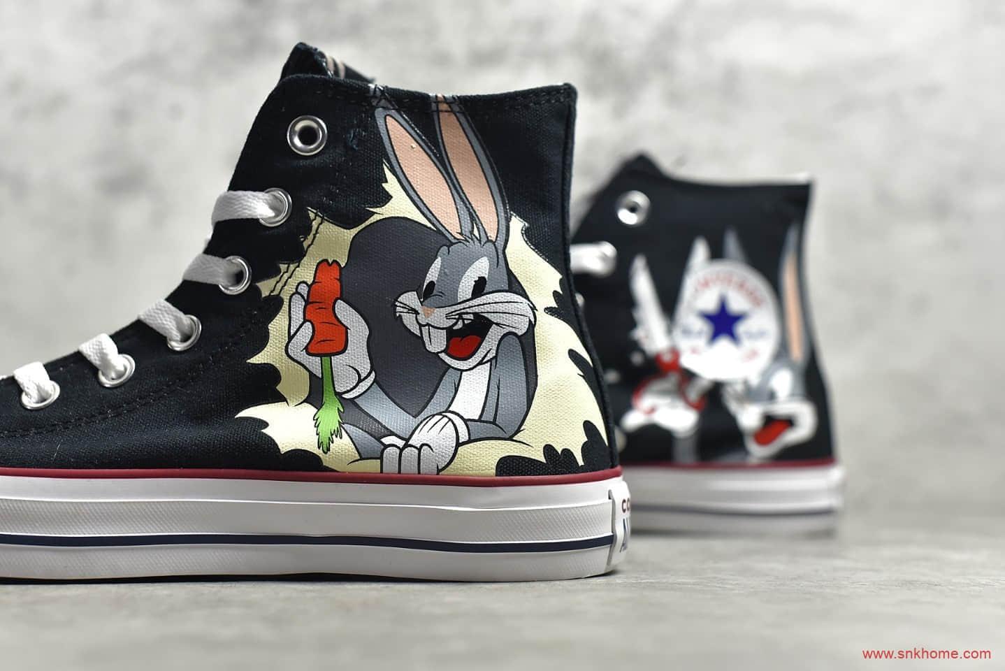 匡威兔八哥联名公司级版本 Bugs Bunny x Converse 匡威ALL STAR黑色高帮帆布鞋联名款 货号:169225C-潮流者之家