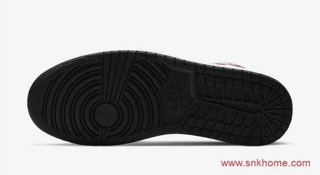 """AJ1白橙中帮黑色线条勾勒 Air Jordan 1 Mid """"Turf Orange"""" AJ1新款配色即将发售 货号:DD6834-802-潮流者之家"""