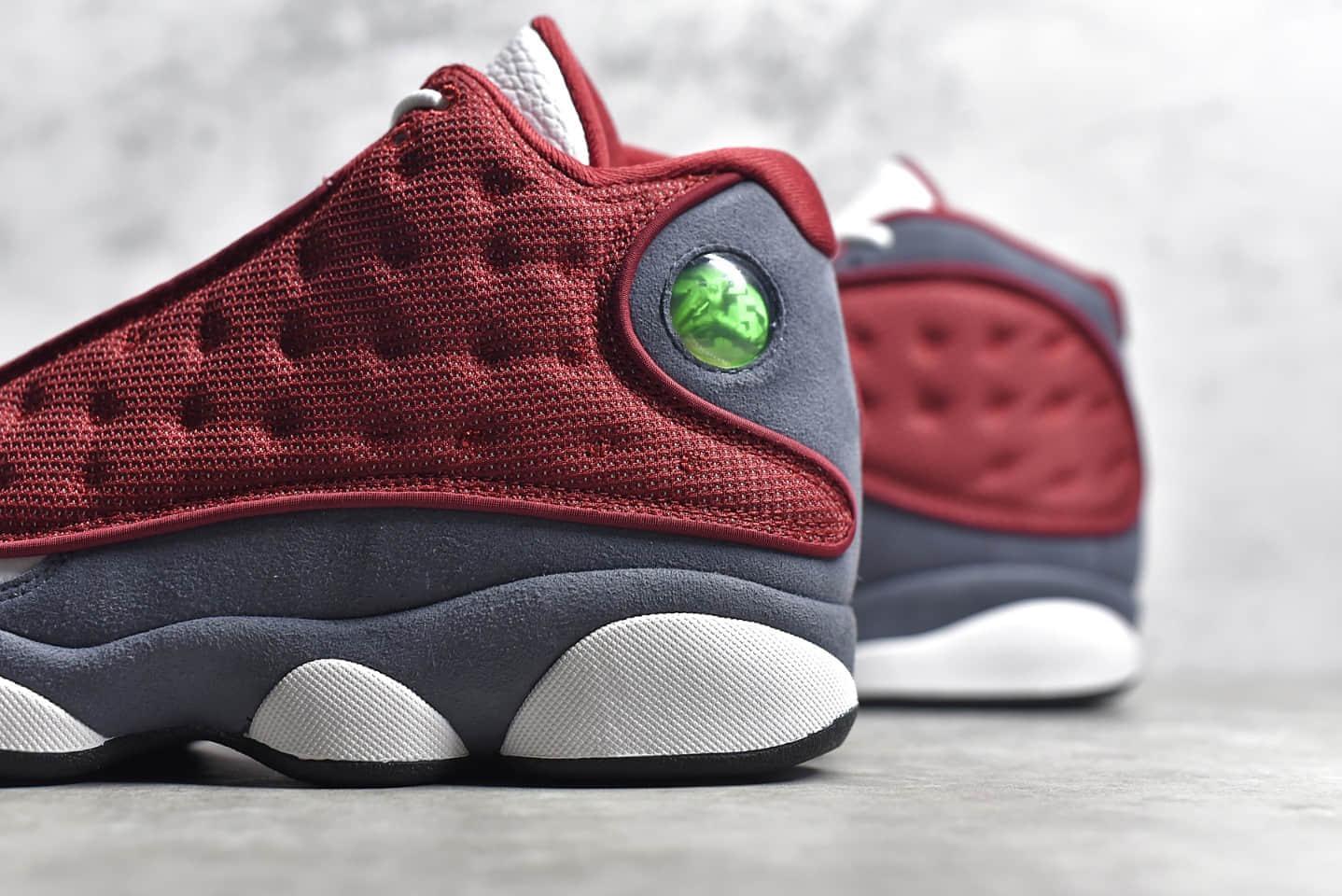 """AJ13白色酒红高质感球鞋 Air Jordan 13 """"Red Flint"""" AJ13头层荔枝皮纯原版本 货号:414571-600-潮流者之家"""