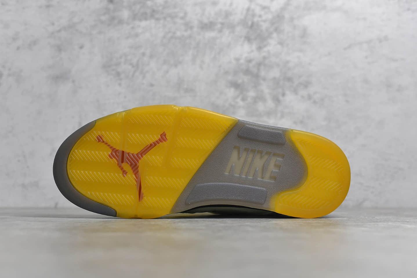 AJ5OW联名白蝉翼米黄色球鞋 Off-white x Air Jordan Retro 5 SP 白蝉翼AJ爆款 货号:DH8565-100-潮流者之家