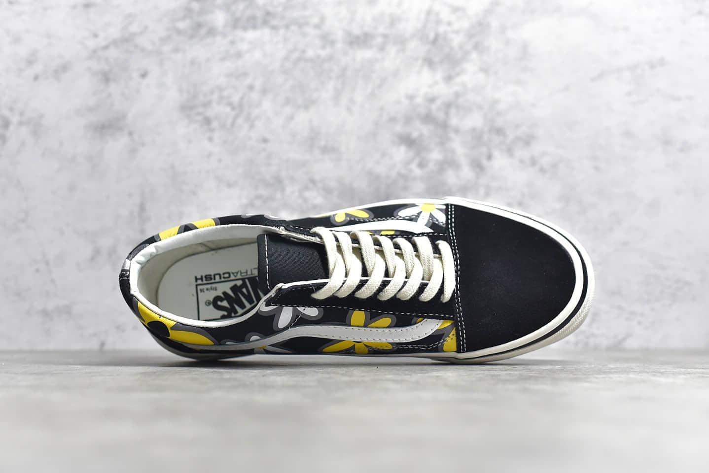 万斯小花印花黑色帆布鞋 Vans old SKOOL LX 万斯经典黑色低帮 万斯情侣鞋 万斯小雏菊印花-潮流者之家
