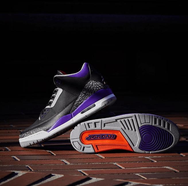 "AJ3黑紫高帮实战球鞋发售日期 Air Jordan 3 ""Court Purple"" 最新AJ3太阳配色美图 货号:CT8532-050-潮流者之家"