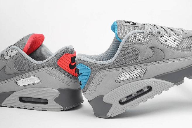 """耐克MAX90红蓝鸳鸯设计太帅 Nike Air Max 90 """"Moscow"""" 新款科技感十足的耐克MAX90复古跑鞋 货号:DC4466-001-潮流者之家"""