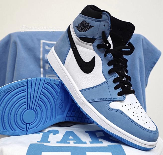 """全新白蓝 Air Jordan 1 实物图 Air Jordan 1 High OG """"University Blue"""" AJ1白黑蓝高帮 货号:555088-134-潮流者之家"""