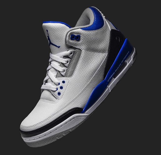 """AJ3小闪电发售日期 冠希同款AJ Air Jordan 3 """"Racer Blue"""" AJ3白蓝实战球鞋亲友配色 货号:CT8532-145-潮流者之家"""