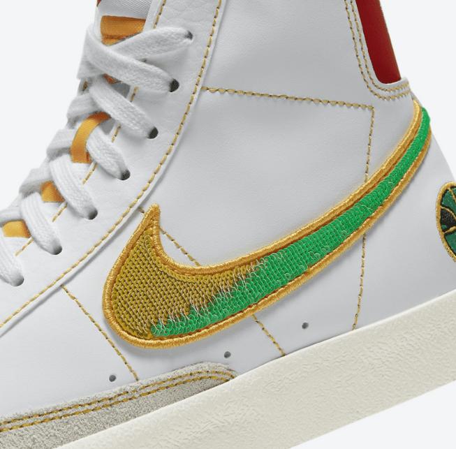 """耐克开拓者米白色高帮 Nike Blazer Mid GS """"Raygun"""" 耐克外星人配色新款 货号:DD9528-100-潮流者之家"""