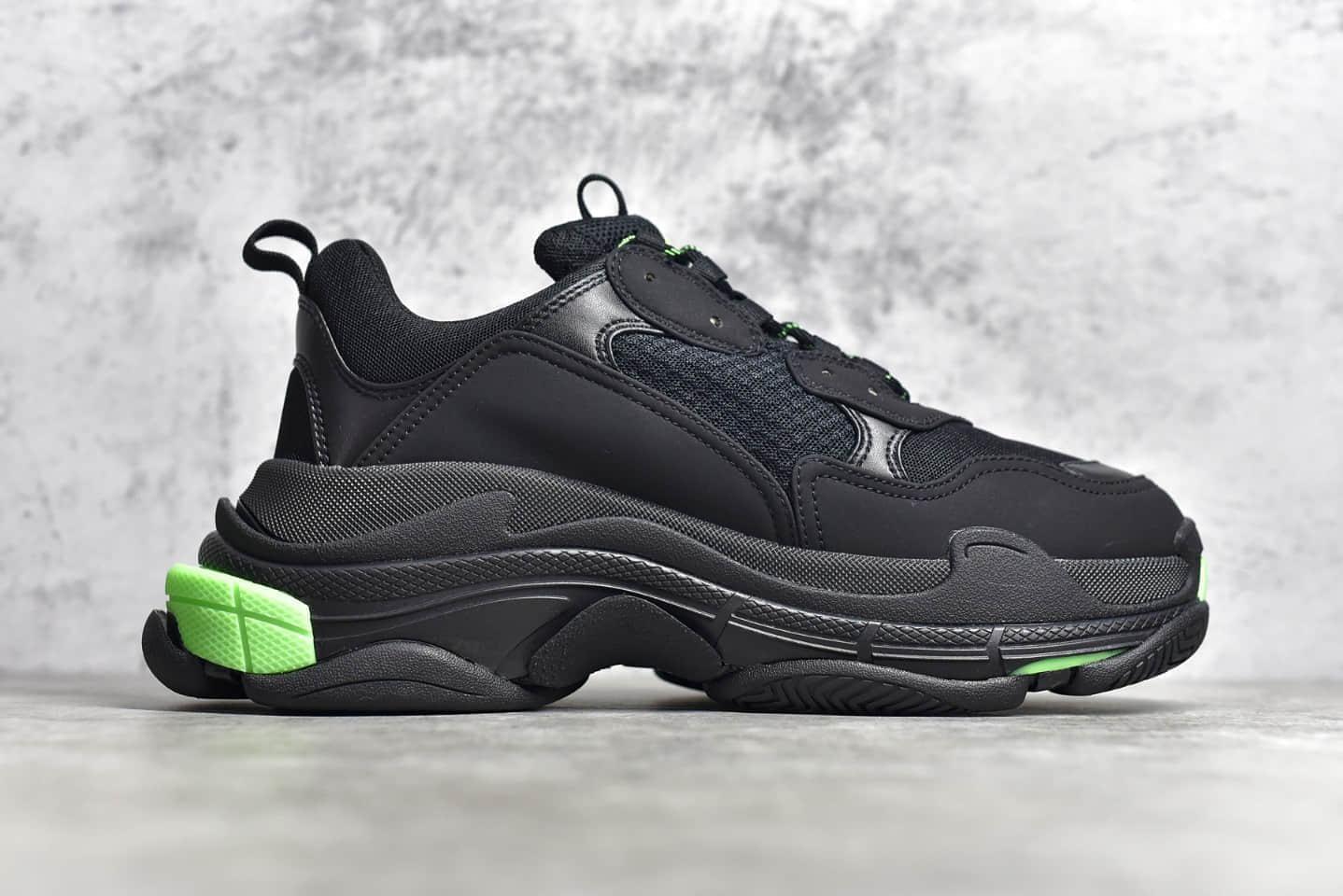 巴黎世家黑绿老爹鞋 巴黎世家一代 Balenciaga Triple S 黑绿 巴黎世家意产19官方发售版本-潮流者之家