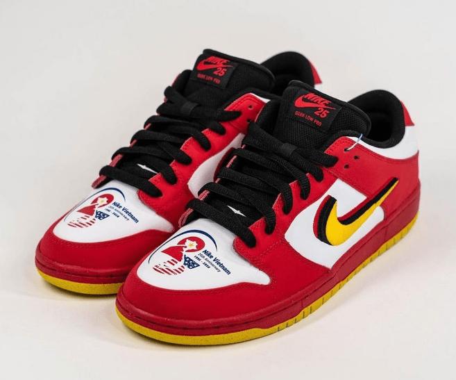 """耐克Dunk SB越南建厂25周年 Nike SB Dunk Low """"Vietnam"""" 耐克Dunk SB黑白红低帮板鞋 货号:309242-307-潮流者之家"""