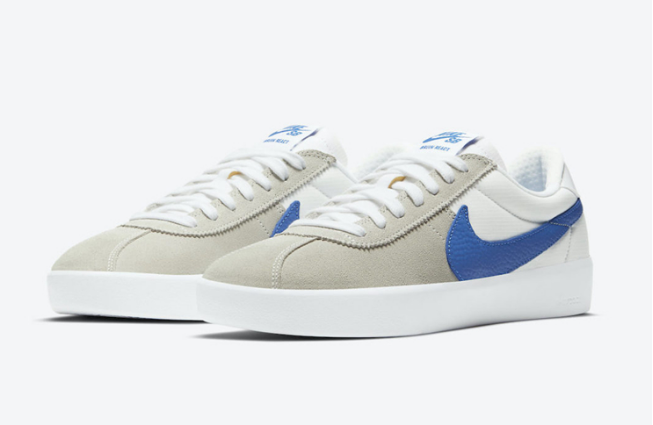 耐克SB板鞋灰白撞色鞋面蓝色钩 Nike SB Bruin React 耐克经典板鞋 货号:CJ1661-100-潮流者之家