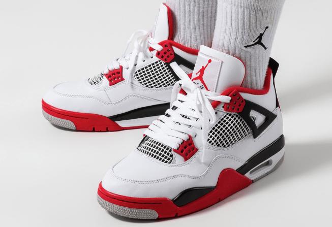 "AJ4白红实战球鞋 Air Jordan 4 ""Fire Red"" 全新AJ4火焰红OG版本白红复刻 货号:DC7770-160-潮流者之家"