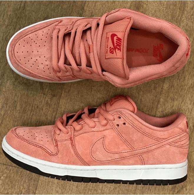 """耐克SB Dunk粉色翻毛皮低帮 Nike SB Dunk Low """"Pink"""" 耐克Dunk全新配色实物图曝光 货号:CV1655-600-潮流者之家"""