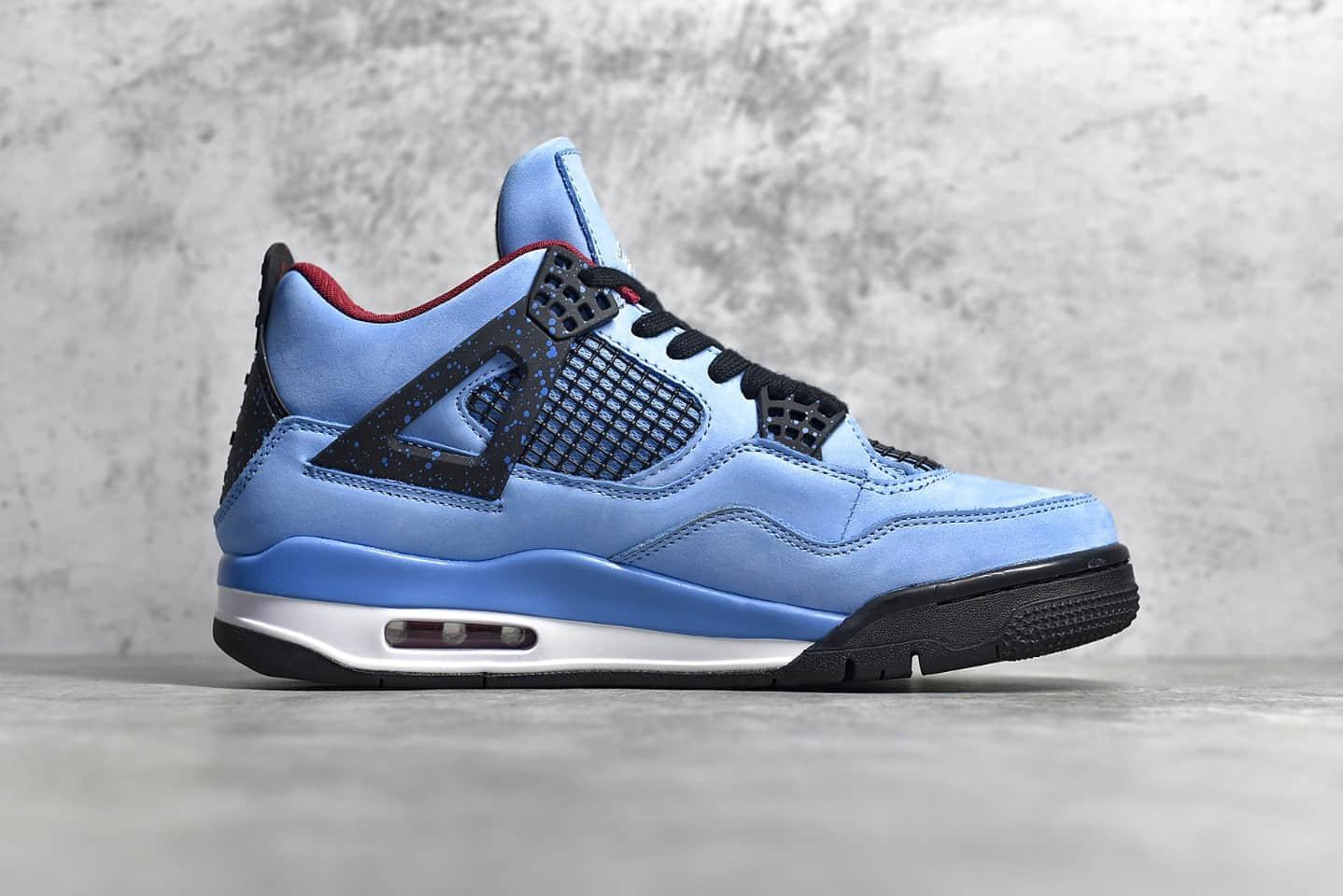 AJ4TS联名蓝色麂皮 Travis Scott x Air Jordan 4 Retro 斯科特AJ4联名蓝黑球鞋 货号:308497-406-潮流者之家