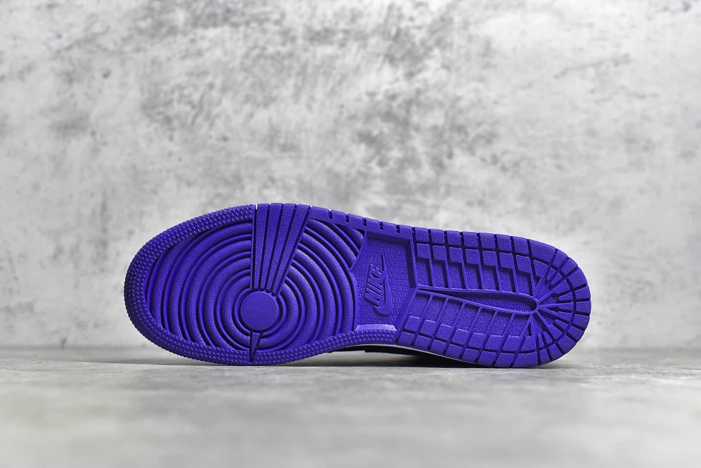 AJ1黑紫中帮纯原版本 Air Jordan 1Mid Black Dark Concord 莆田AJ1顶级品质 货号:554125-051-潮流者之家