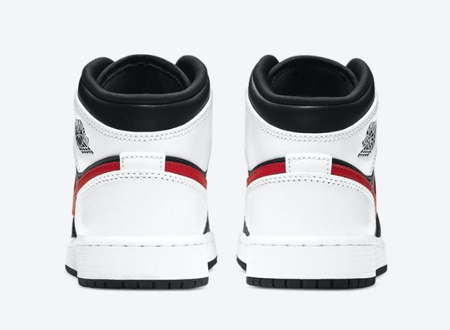AJ1黑白红中帮全新配色 Air Jordan 1 Mid GS 经典AJ1黑白GS版本 货号:554725-075-潮流者之家