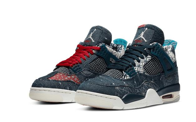"""AJ4牛仔鸳鸯球鞋 Air Jordan 4 SE """"Sashiko"""" 刺子绣AJ4复刻回归发售日期 货号:CW0898-400-潮流者之家"""