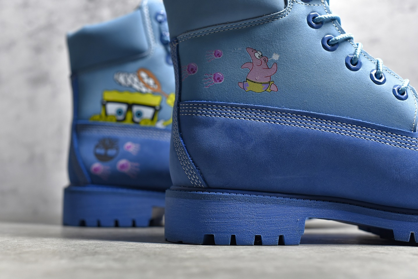 天伯伦海绵宝宝联名 Timberland X SpongeBob SquarePants 添柏岚蓝色高帮马丁靴高品质-潮流者之家
