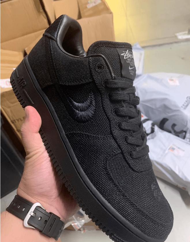 耐克斯图西联名黑色米白色实物图 Stussy x Nike Air Force 1 Low 耐克斯图西联名帆布鞋 货号:CZ9084-001-潮流者之家