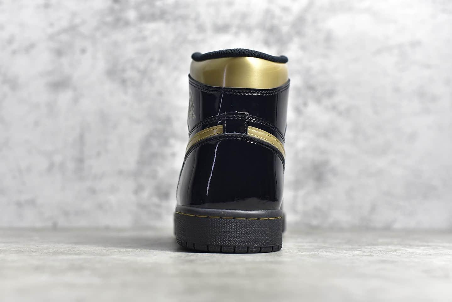 "AJ1黑金高帮 Air Jordan 1 "" Black Metallic Gold ""黑金漆皮顶级复刻版本 货号:555088-032-潮流者之家"