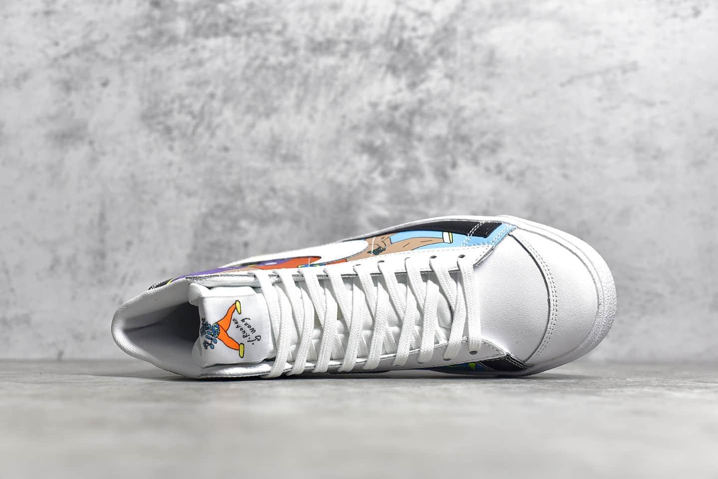 耐克开拓者王若涵联名高帮 Ruohan Wang x Nike Blazer Mid 77 Flyleather QS 耐克开拓者涂鸦 货号:CZ3775-900-潮流者之家