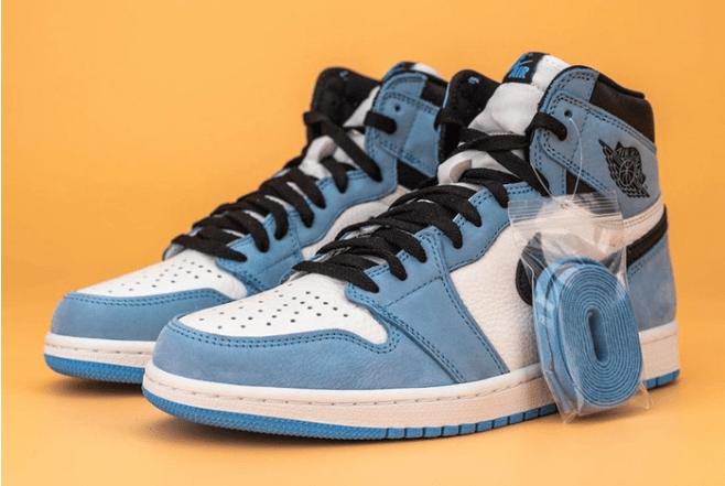 """AJ1白蓝黑磨砂麂皮 Air Jordan 1 High OG """"University Blue"""" 全新配色AJ1北卡蓝发售日期 货号:555088-134-潮流者之家"""