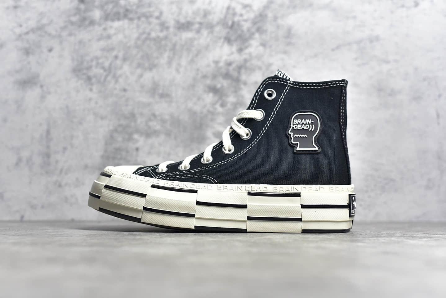 匡威脑死亡黑色解构高帮帆布鞋 Brain Dead x Converse Chuck Lift 1970 Hi 2.0 匡威厚底板鞋 货号:170549C-潮流者之家