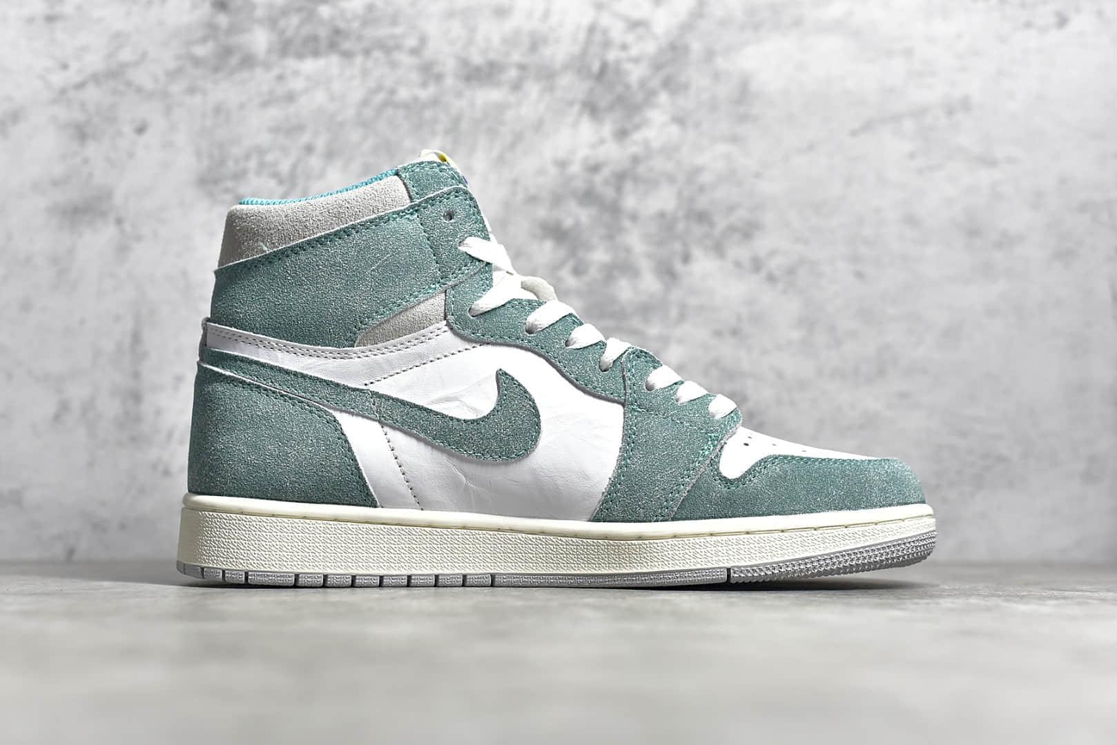 """AJ1白绿蒂芙尼高帮 Air Jordan 1 Retro """"Turbo Green"""" 纯原版本AJ1白绿麂皮高帮 货号:555088-311-潮流者之家"""