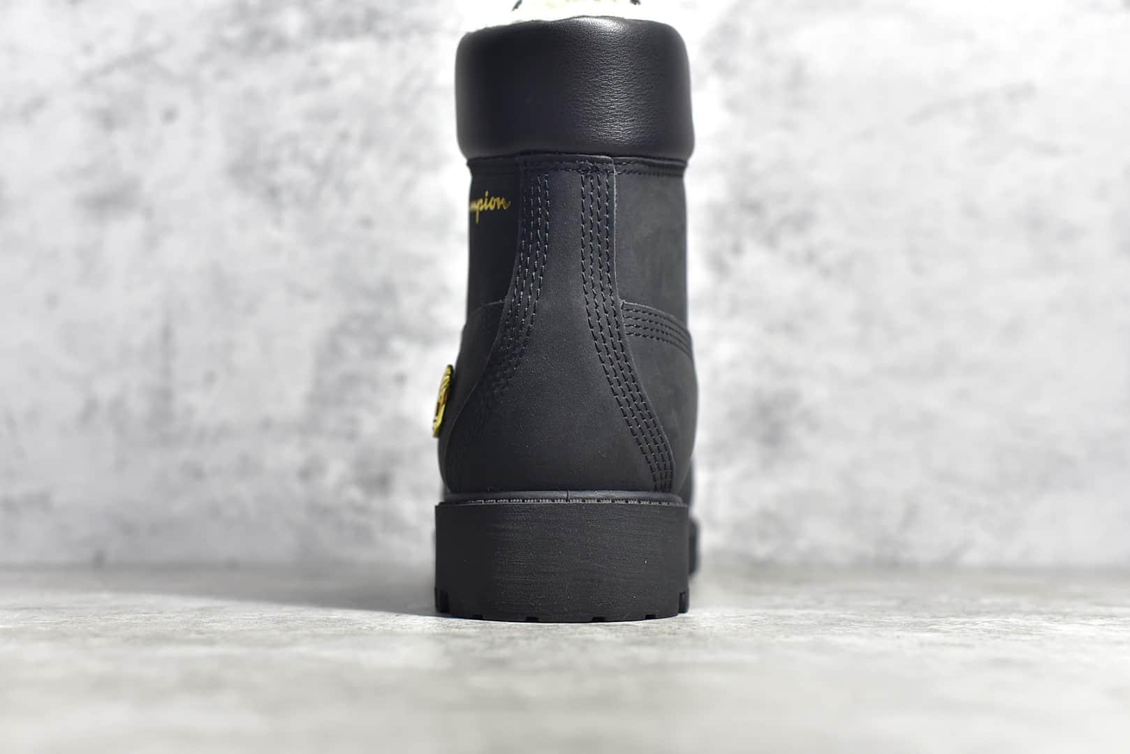 天伯伦卫冕冠军联名款 Timberland x Champion Premium 6Inch Boot 天伯伦加绒黑色高帮马丁靴-潮流者之家