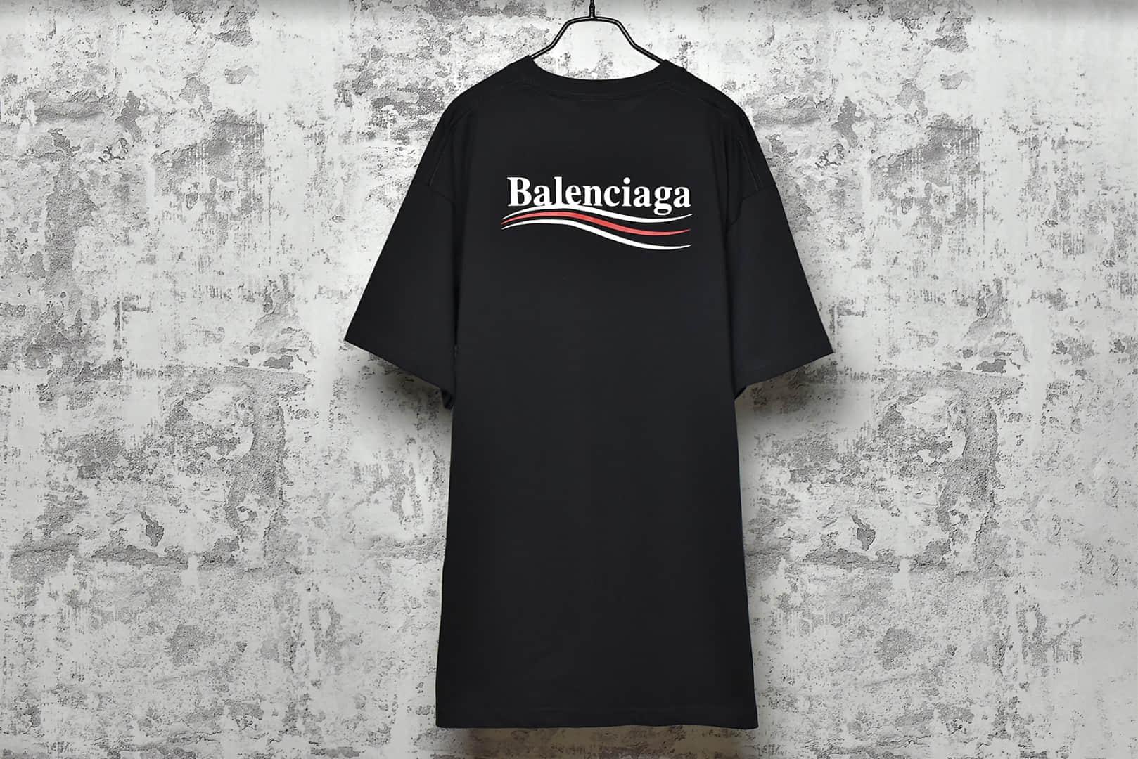 巴黎世家黑可乐波浪印花短袖 Balenciaga 20ss 巴黎世家采用Huafu定纺色纱定织定染面料纱线采用18SJC-潮流者之家