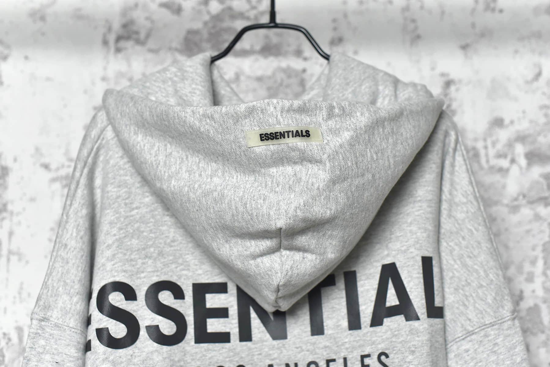 FOG洛杉矶限定灰色卫衣正品复刻 Fear Of God -Essentials 19Fw 3M反光字母印花长袖连帽卫衣-潮流者之家