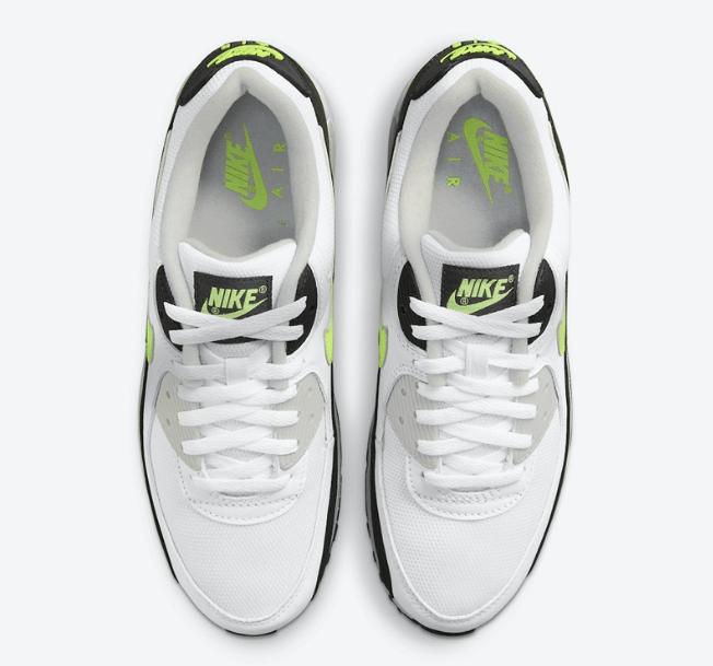 "耐克AIE MAX90 OG全新配色 Nike Air Max 90 ""Hot Lime"" 耐克MAX90白黑绿老爹鞋 货号:CZ1846-100-潮流者之家"