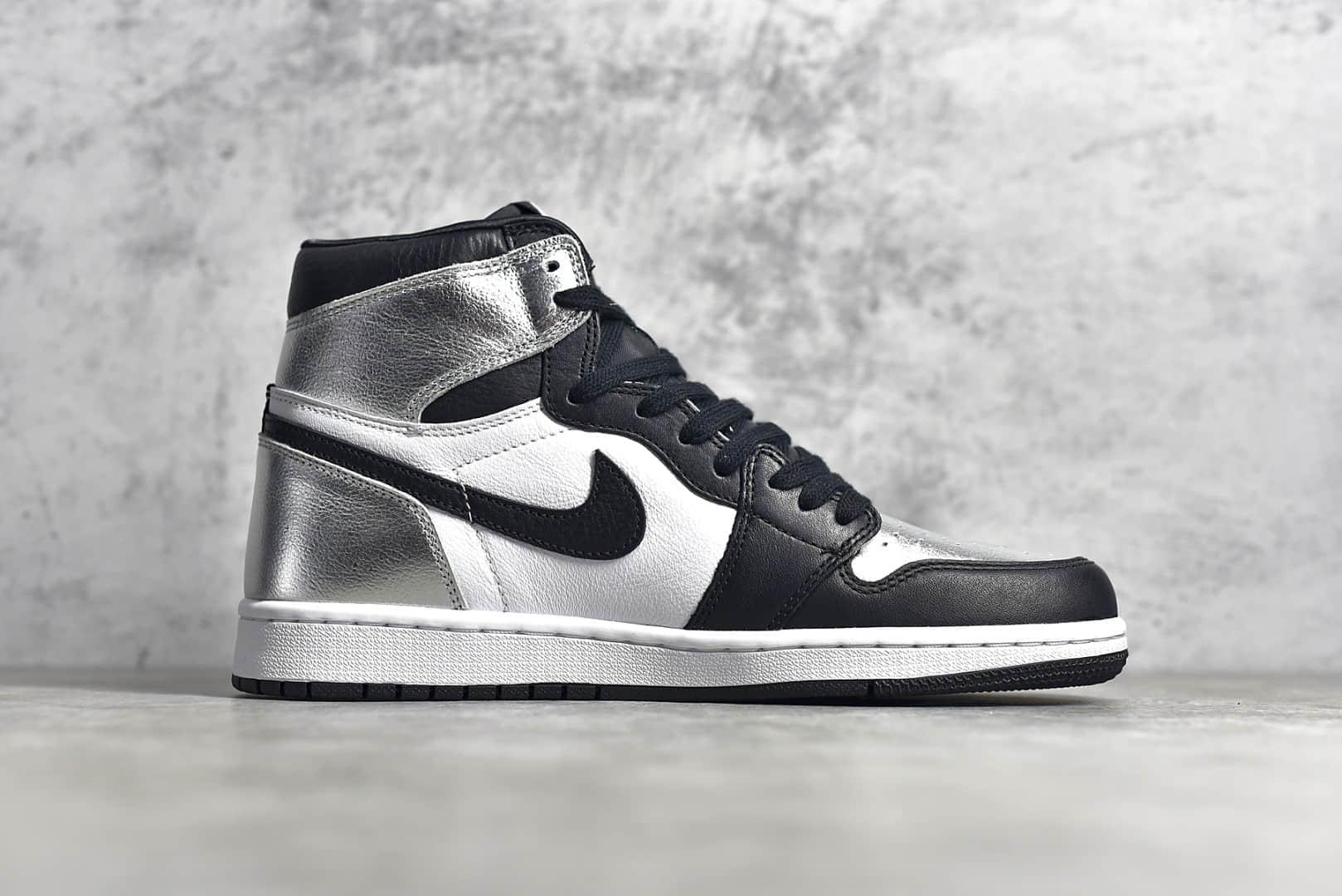 """AJ1黑银脚趾小伦纳德高帮 Air Jordan 1 Retro """"Silver Toe"""" 黑银脚趾漆皮头层皮拼接 货号:CD0461-001-潮流者之家"""