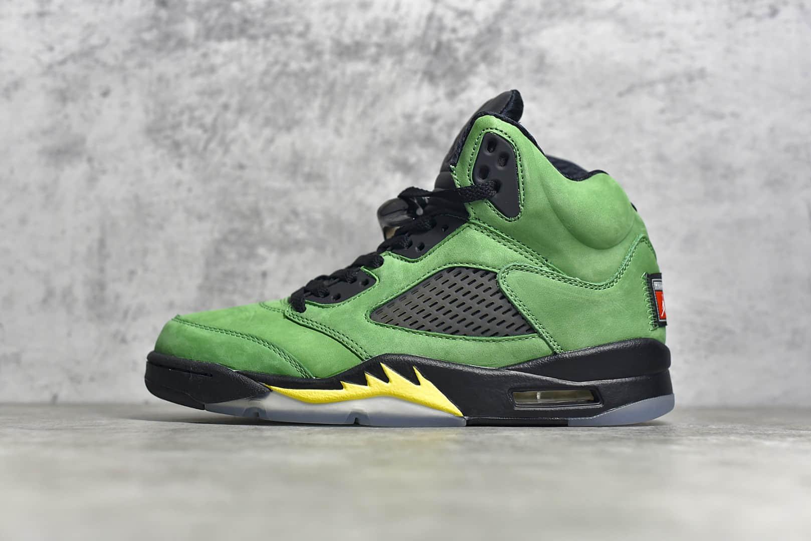 AJ5黑绿俄勒冈大学高帮实战篮球鞋 Air Jordan 5 Retro SE Apple Green 东莞莞产顶级版本AJ5系列 货号:CK6631-307-潮流者之家