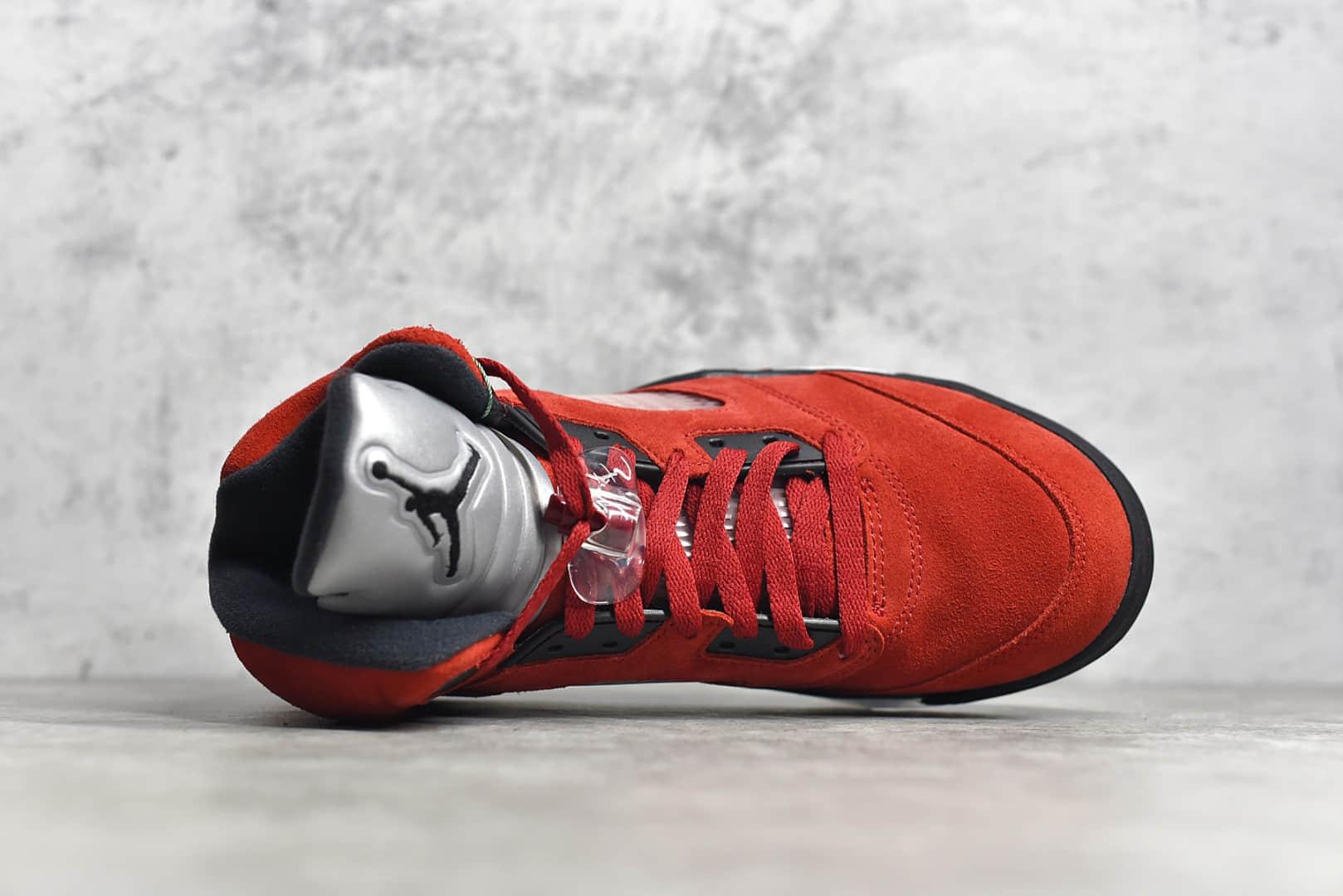 AJ5愤怒的公牛黑红高帮篮球鞋 Air Jordan 5 莆田顶级版本实战篮球鞋 AJ5红色麂皮高帮 货号:DD0587-600-潮流者之家